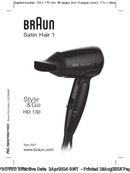 Braun Satin-Hair 1 HD 130 pagina 1