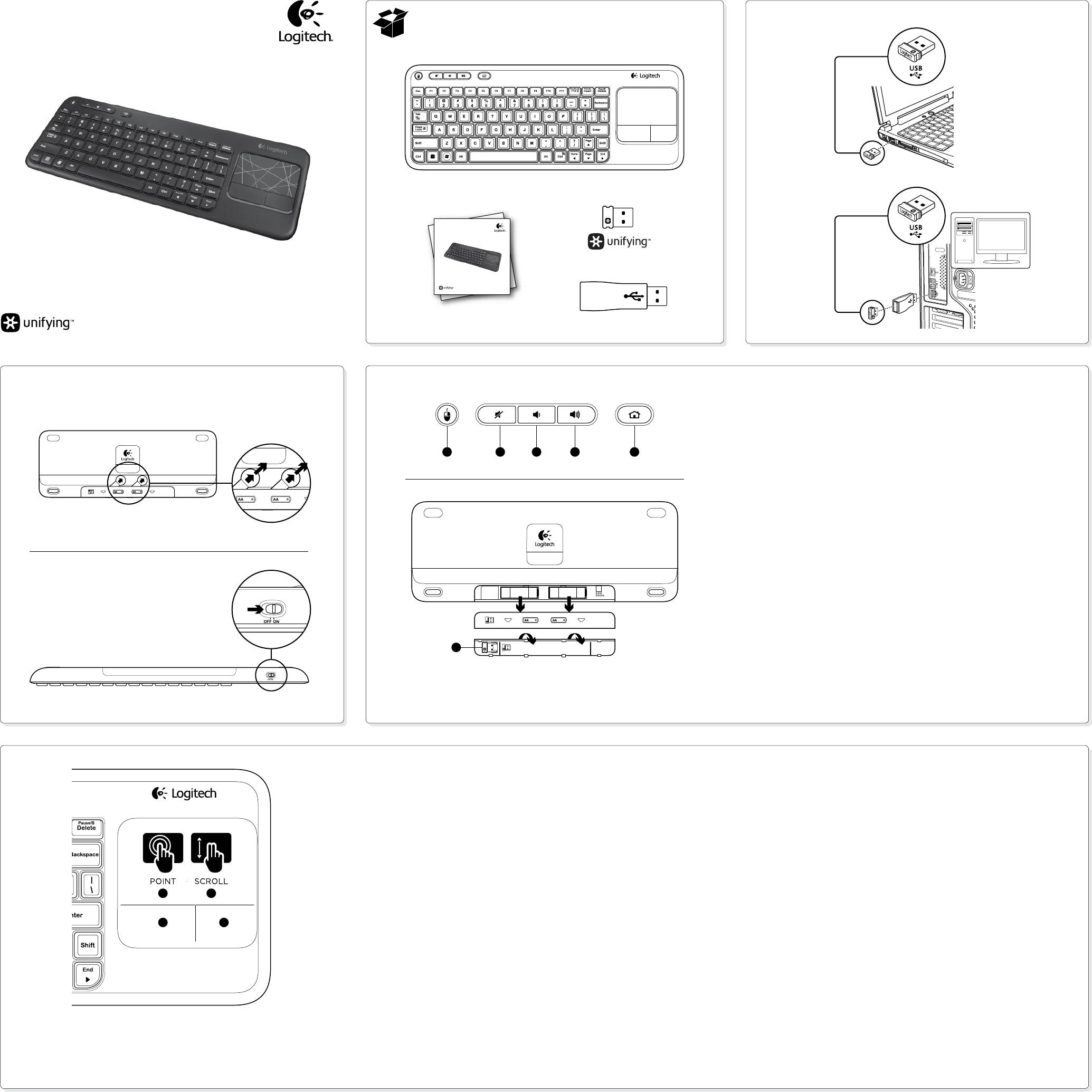 Logitech Wireless Touch Keyboard K400 manual