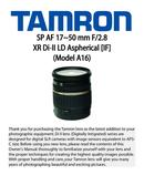 Página 1 do Tamron SP 17-50mm F 2.8