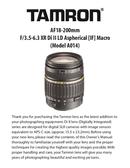 Pagina 1 del Tamron 18-200mm F 3.5-6.3